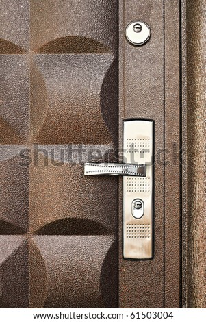 metallic door background - stock photo
