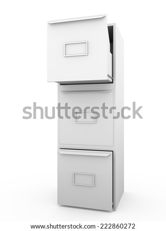 Metallic drawer. office furniture for archiving and cataloging information  - stock photo