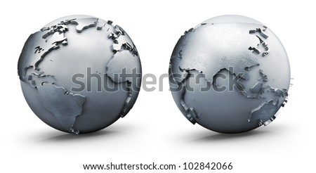 Metallic earth globe, isolated on white
