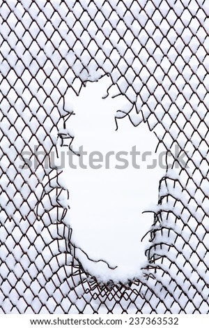 Hole Wire Mesh Fence White Background Stock Photo