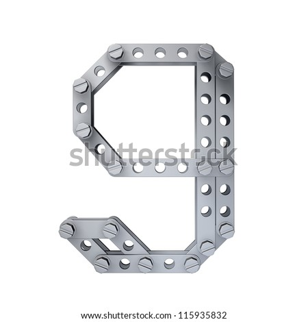 Metallic figure (9) with rivets and screws isolated on white background 3d render high resolution