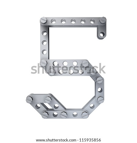Metallic figure (5) with rivets and screws isolated on white background 3d render high resolution