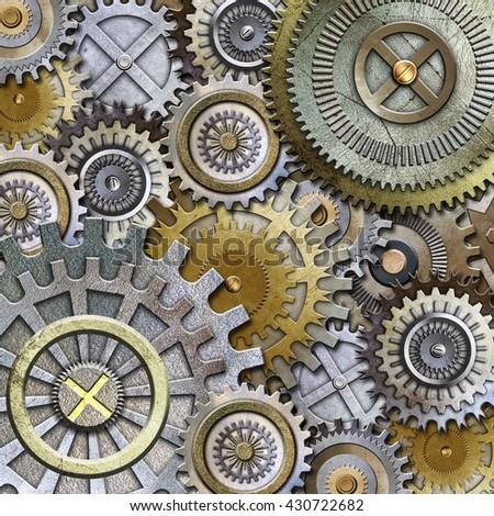 metallic gears background 3d - stock photo