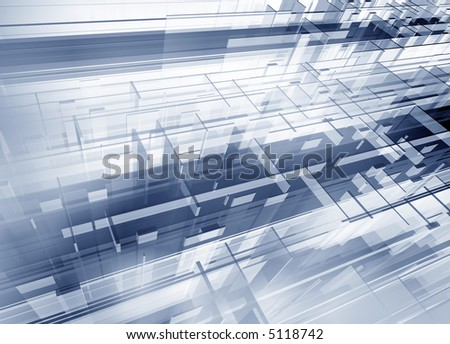 Metallic geometric modern 3d structure - digital artwork - stock photo