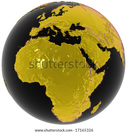 Metallic globe with surface relief, centered on Africa. Isolated on white with clipping path.