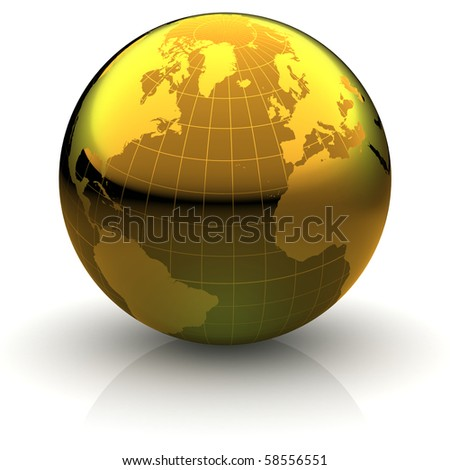 Metallic golden globe illustration with highly detailed continents and geographical grid facing Northern Atlantic