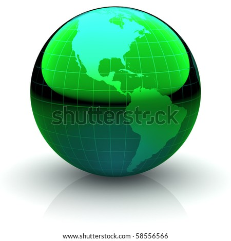 Metallic green globe with highly detailed continents and geographical grid  facing the Americas
