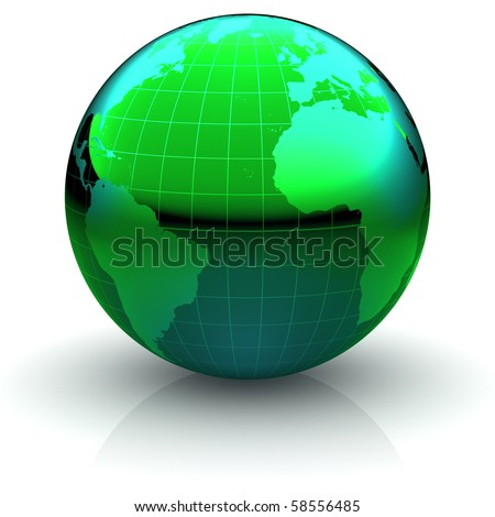 Metallic green globe with highly detailed continents and geographical grid  facing the Atlantic