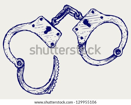 Metallic handcuffs. Doodle style. Raster version - stock photo