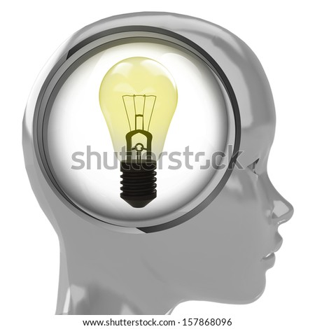 metallic human head with brain cloud with shiny yellow bulb inside illustration