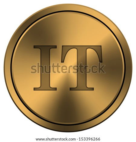 Metallic icon with carved design on copper-colored  background
