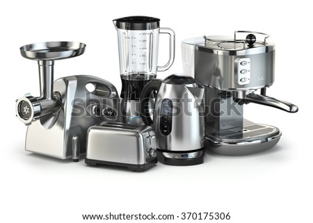 Metallic kitchen appliances. Blender, toaster, coffee machine, meat ginder and kettle isolated on white. 3d - stock photo