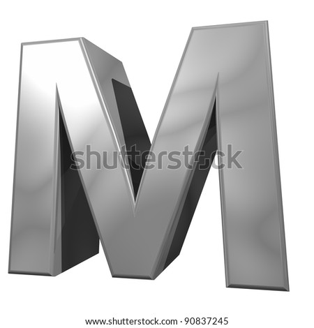 metallic letter M isolated on white background - stock photo