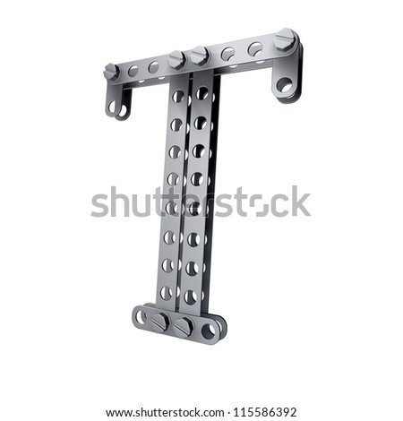 Metallic letter (T) with rivets and screws isolated on white background 3d render high resolution - stock photo