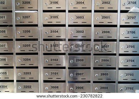metallic mailboxes. - stock photo