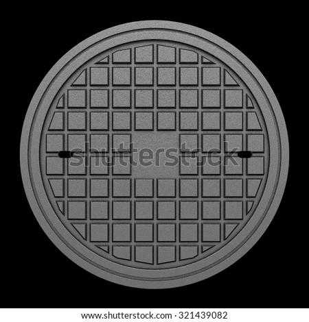 metallic manhole cover isolated on black background - stock photo