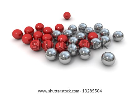 Metallic marbles in red and silver against a white background