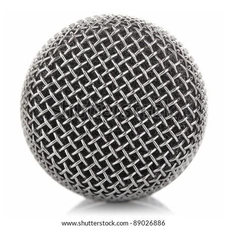 metallic microphone mesh isolated on white background - stock photo