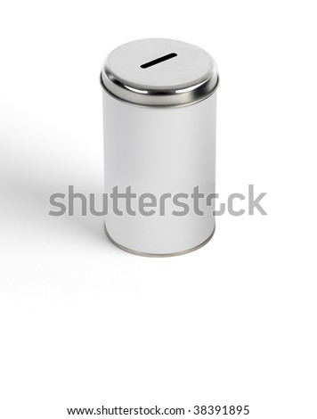 Metallic moneybox on white bottom(fund) - stock photo