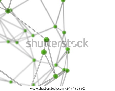 metallic nerve plexus model on white background with depth of field blur. - stock photo
