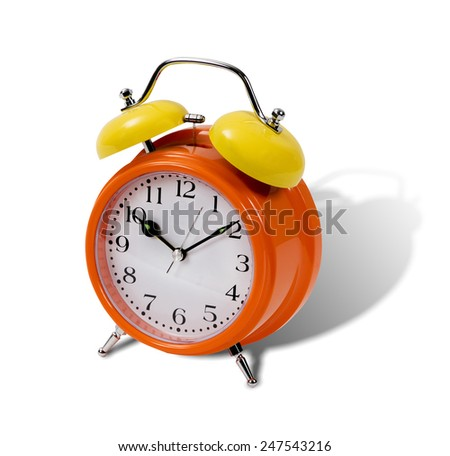 Metallic orange and yellow classic alarm clock isolated over white background - stock photo