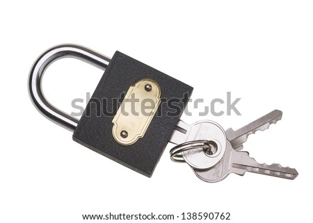 Metallic padlock with gold plate and key on white background. - stock photo