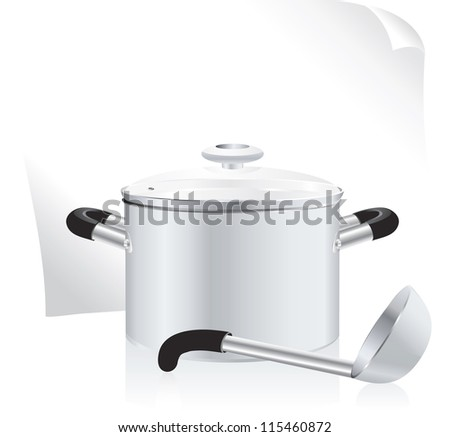 metallic pan, covered with lid, ladle  and white sheet of paper for your text - stock photo