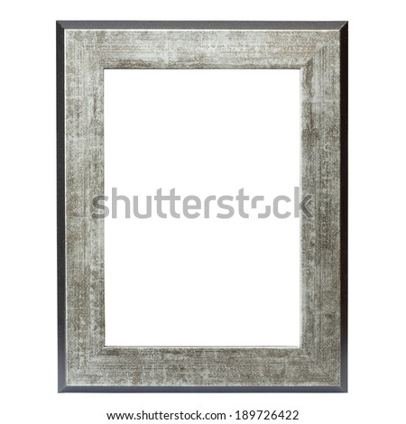 metallic picture frame isolated over white background - stock photo
