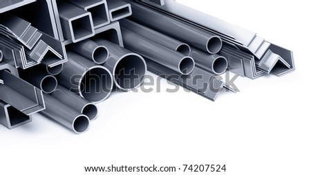 metallic pipes, corners, types - stock photo