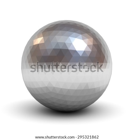 Metallic polygonal chrome sphere isolated over white background with shadow