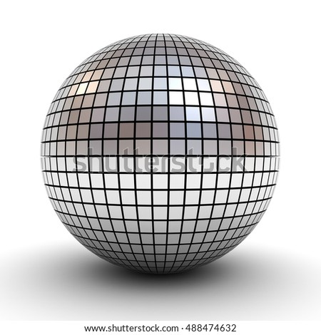 Metallic polygonal chrome sphere or disco ball isolated over white background with shadow. 3D rendering.