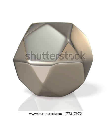 metallic polyhedron,,isolated, computer generated image,