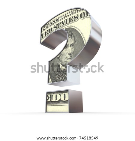 metallic question mark with a dollar note on the front - stock photo
