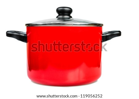 Metallic red cooking pot  with a glass lid isolated on a white background - stock photo