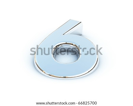 Metallic render of number six on a white background - stock photo