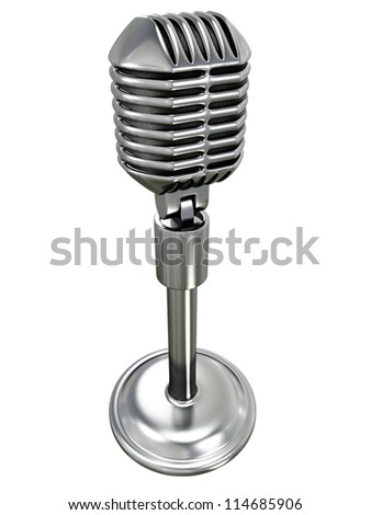 metallic retro microphone on white background