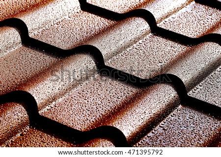 Metallic Roof Drops Water Macro Image Stock Photo