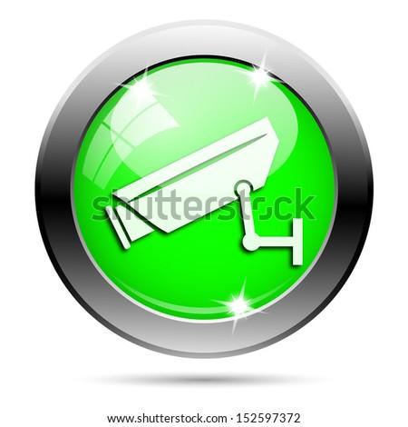 Metallic round glossy icon with white design on green background - stock photo