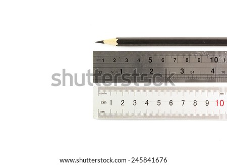 Metallic ruler with pencil isolated on white background