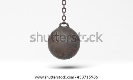 Metallic rusty wrecking ball on chain, isolated on white background. 3D rendering - stock photo