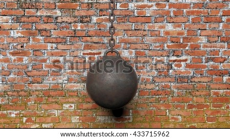 Metallic rusty wrecking ball on chain,with old brick wall background 3D rendering - stock photo