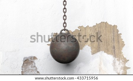 Metallic rusty wrecking ball on chain, with old wall. 3D rendering - stock photo