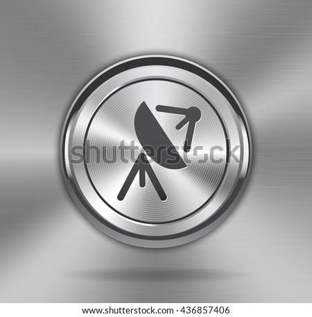 Metallic satellite antenna sign on shiny button web element on shiny brushed metallic background. Broadcasting and receiving antenna icon. - stock photo