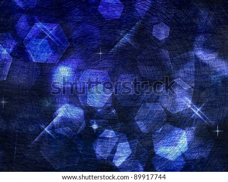 metallic scratch blue background with stars - stock photo