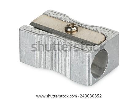 metallic sharpener isolated on white - stock photo