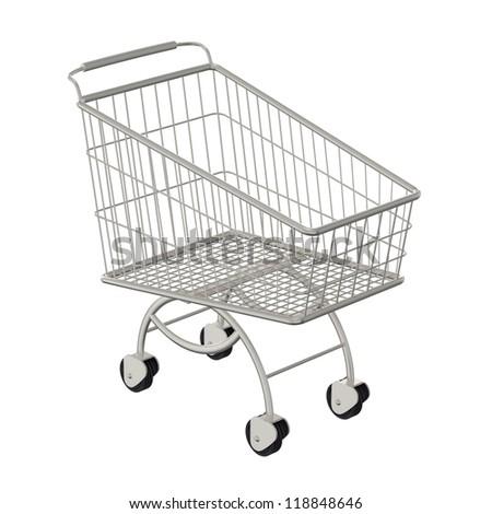 Metallic shopping cart. Isolated on a white - stock photo