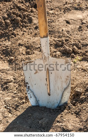Metallic shovel in the ground
