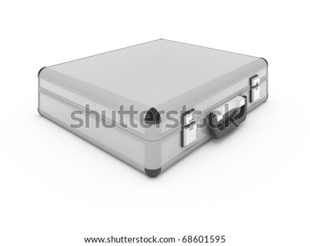 Metallic silver briefcase isolated on white