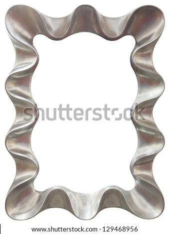 metallic silver mirror frame isolated on white background clipping path included