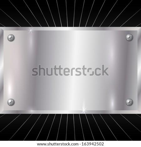 Metallic Silver Plate - stock photo